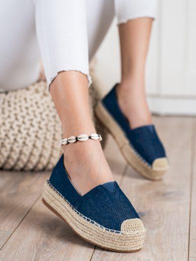 Stylové modré  polobotky dámské bez podpatku