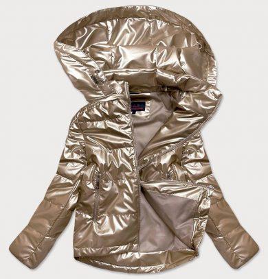 Lesklá dámská oversize bunda v barvě kapučíno (2021-06)
