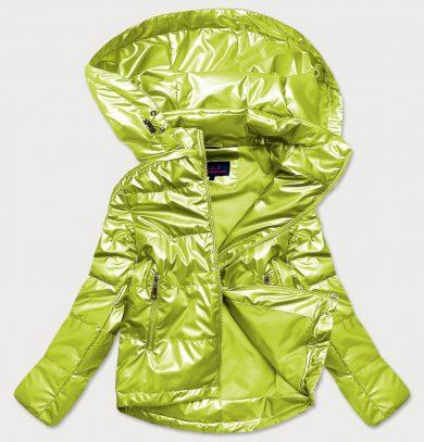 Lesklá dámská oversize bunda v limetkové barvě (2021-06BIG)