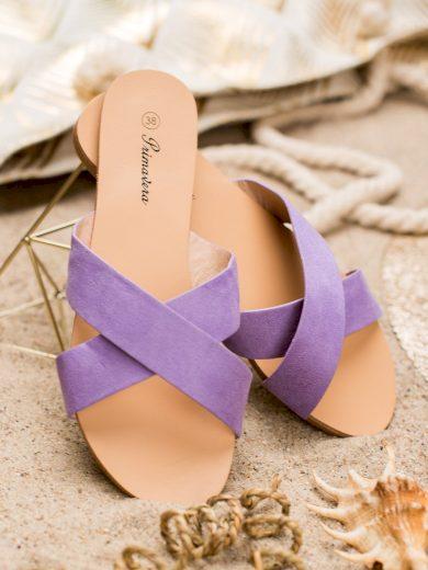 Pěkné  nazouváky fialové dámské bez podpatku