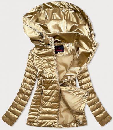 Zlatá dámská bunda s kapucí (2021-11BIG)