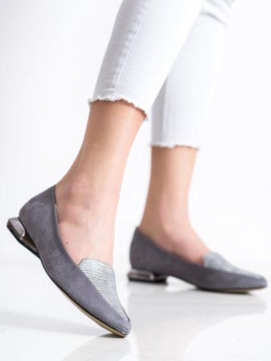 Pohodlné  lodičky dámské šedo-stříbrné na plochém podpatku