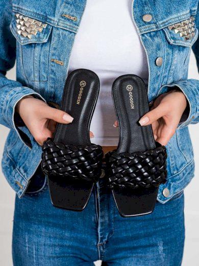 Komfortní  nazouváky dámské černé bez podpatku