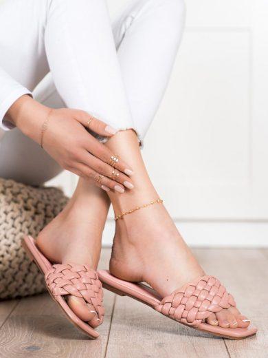 Pěkné dámské  nazouváky růžové bez podpatku