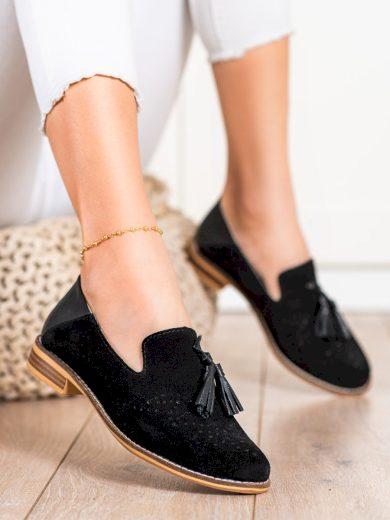 Designové dámské černé  polobotky na plochém podpatku
