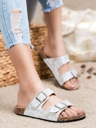 Výborné šedo-stříbrné  nazouváky dámské bez podpatku
