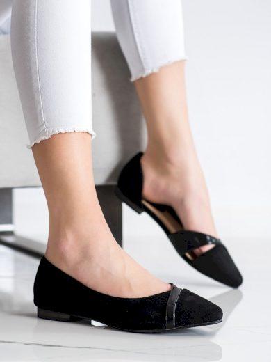 Výborné  baleríny dámské černé na plochém podpatku