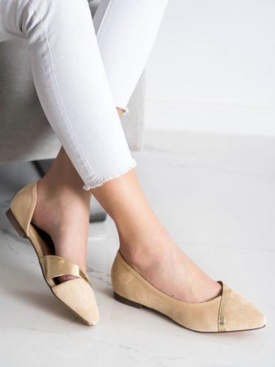 Trendy  baleríny hnědé dámské na plochém podpatku