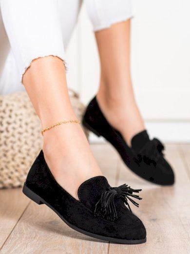 Klasické černé dámské  polobotky na plochém podpatku