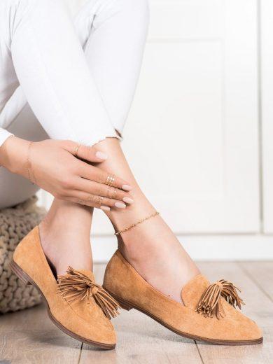 Stylové  polobotky hnědé dámské na plochém podpatku
