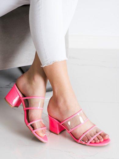 Trendy  nazouváky růžové dámské na širokém podpatku