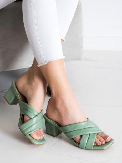 Trendy zelené  nazouváky dámské na širokém podpatku