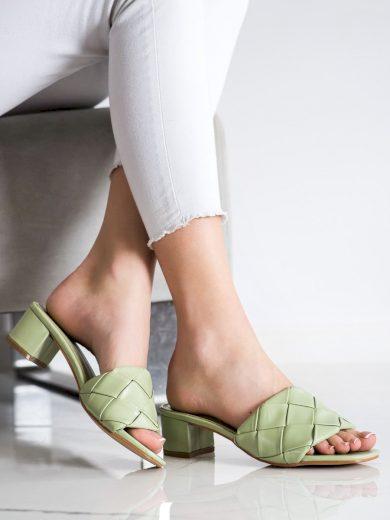 Krásné dámské  nazouváky zelené na širokém podpatku