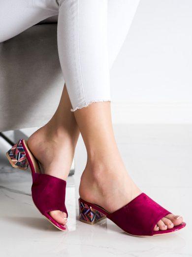 Jedinečné růžové dámské  nazouváky na širokém podpatku