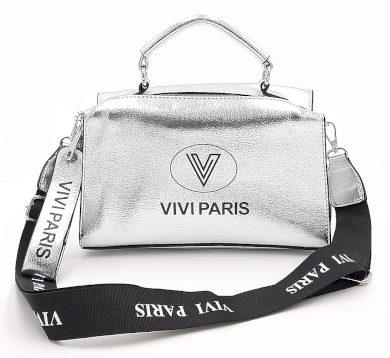 Moderní lesklá kabelka ve stříbrné barvě Vivi Paris