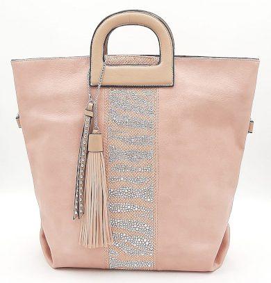 Prostorná růžová kabelka s kamínky a třásněmi