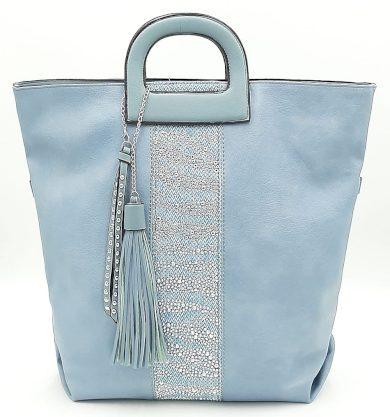 Prostorná modrá kabelka s kamínky a třásněmi