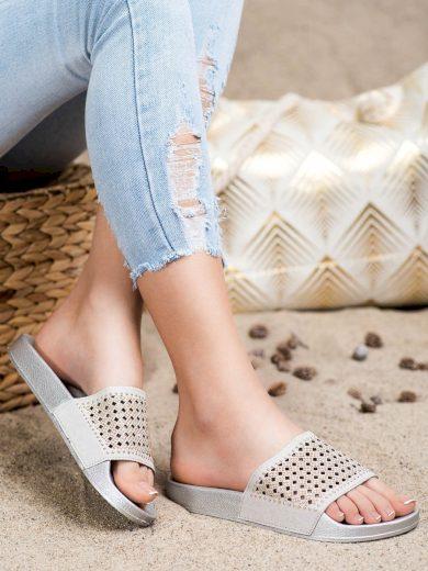 Originální šedo-stříbrné  nazouváky dámské bez podpatku