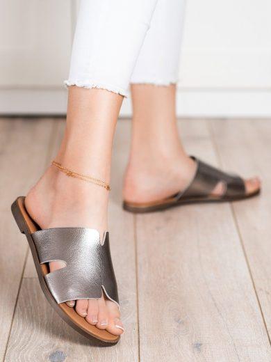 Komfortní  nazouváky dámské šedo-stříbrné bez podpatku