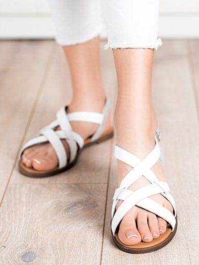 Krásné bílé  sandály dámské bez podpatku