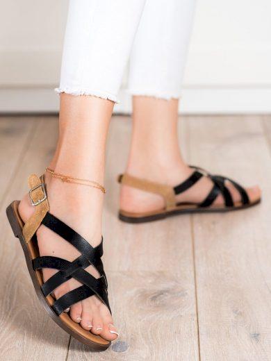 Originální dámské černé  sandály bez podpatku
