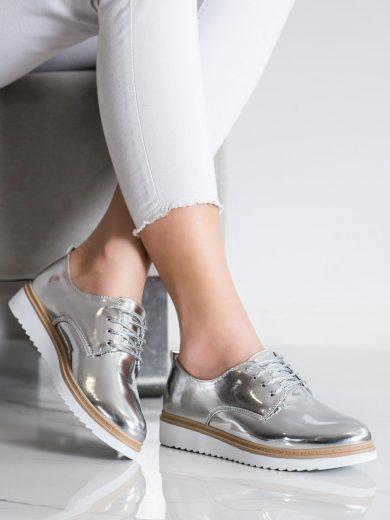 Pohodlné  polobotky šedo-stříbrné dámské bez podpatku