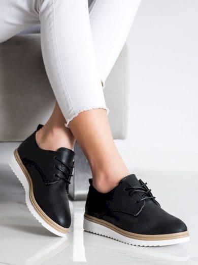 Trendy dámské černé  polobotky bez podpatku