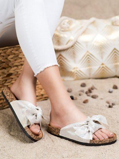 Módní šedo-stříbrné dámské  nazouváky bez podpatku