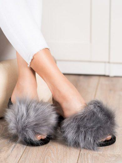 Pohodlné dámské šedo-stříbrné  nazouváky bez podpatku