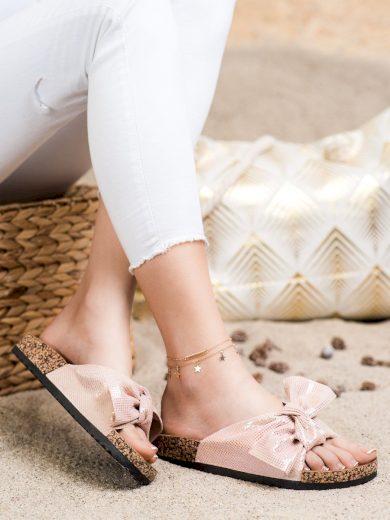 Exkluzívní růžové  nazouváky dámské bez podpatku