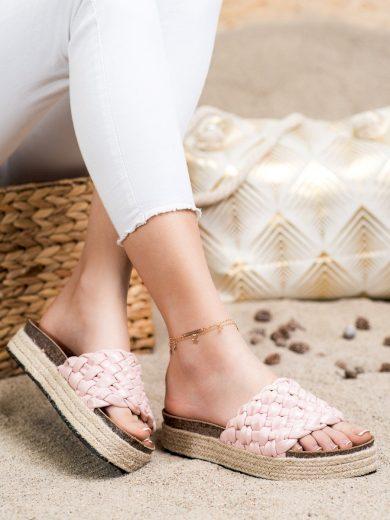 Výborné  nazouváky dámské růžové bez podpatku