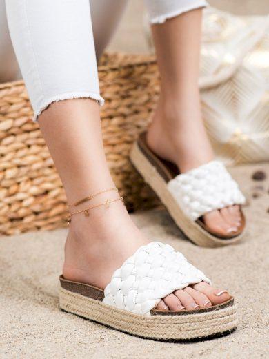 Originální  nazouváky dámské bílé bez podpatku
