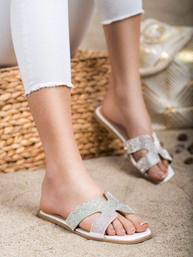 Designové dámské bílé  nazouváky bez podpatku