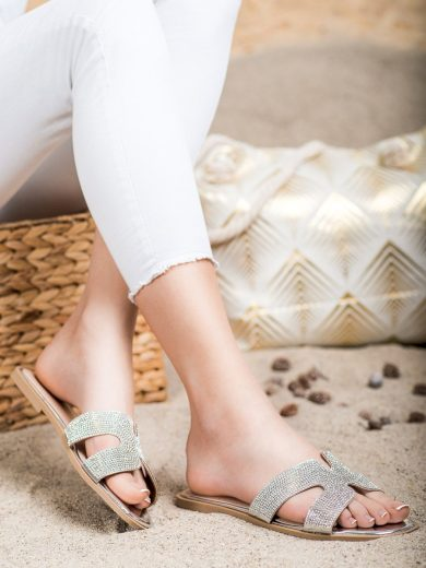 Zajímavé šedo-stříbrné dámské  nazouváky bez podpatku