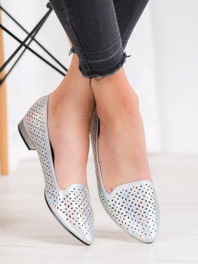 Výborné dámské  baleríny šedo-stříbrné bez podpatku