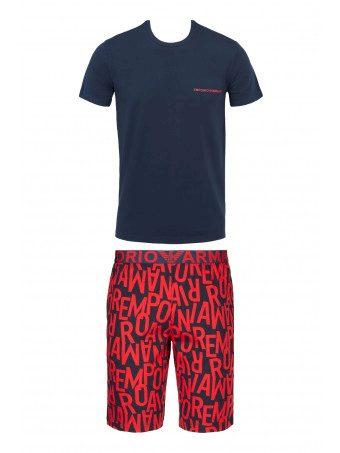 Pánské pyžamo 111893 1P506 75135 tmavě modrá/červená - Emporio Armani