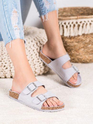 Krásné šedo-stříbrné dámské  nazouváky bez podpatku