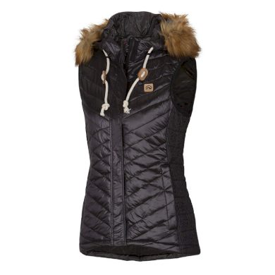NORTHFINDER dámská vesta s imitací peří krátká metalická s kožešinkou VIENA black