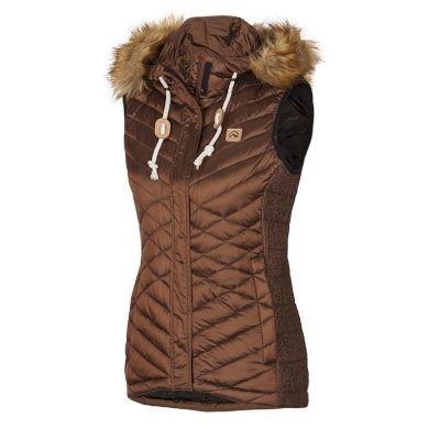 NORTHFINDER dámská vesta s imitací peří krátká metalická s kožešinkou VIENA goldenyellow