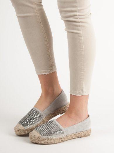 Pohodlné  baleríny dámské šedo-stříbrné bez podpatku