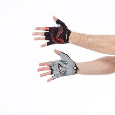 RU-10121MB pánské rukavice Hi-tech cyklistické s gélovou výplní MYSHORT blackred