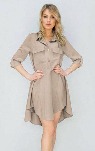 Béžové dámské šaty s kapsami (267ART)