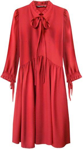 Červené dámské šaty s volánkovým stojáčkem (208ART)