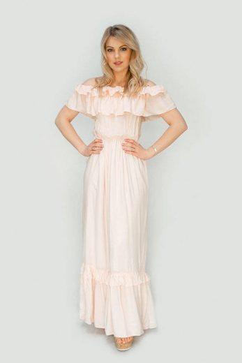 Béžové dámské šaty ve španělském stylu (344ART)