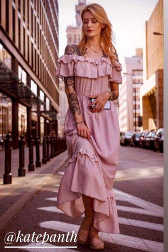 Dámské maxi šaty v lososové barvě (344ART)