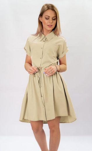 Béžové dámské košilové šaty (339ART)