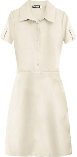 Béžové dámské šaty s límečkem (431/1ART)