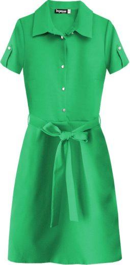 Zelené dámské šaty s límečkem (437ART)