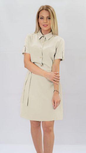 Béžové šaty s límečkem (431ART)
