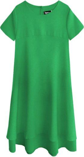Zelené dámské trapézové šaty (436ART)